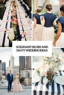 wedding photo - 32 Elegant Blush And Navy Wedding Ideas - Weddingomania