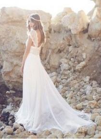 wedding photo - A-Line/Princess V-neck Court Train Chiffon Wedding Dress With Lace Beading