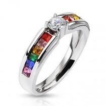 wedding photo - Celebration - Stainless Steel Engagement Ring with Clear Center Gem and Rainbow CZs