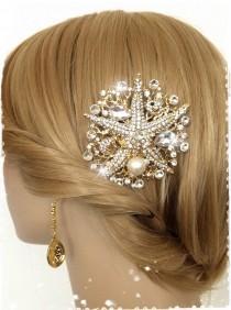 "wedding photo - Mermaid Inspired Crystal Gold Starfish Beach Wedding Hair Comb-Crystal&Pearl Side Comb-Bridal Sea Shell and Coral Rhinestone Comb-""LORELEY"""