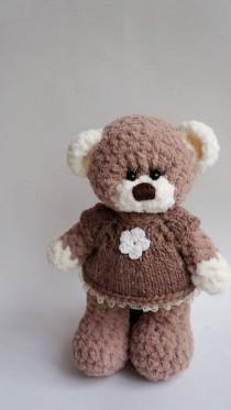 wedding photo - Plush Bear in dress stuffed toy bear plush bear brown stuffed bear woodland animal large bear crochet animal softie bear doll Halloween toy