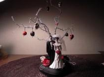 wedding photo - ETSY WEDDINGS FEATURED item Day of the dead/Zombie/Skeleton Wedding Cake Topper with Twisted Wire Tree Alternative Wedding Halloween Wedding