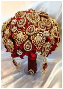 wedding photo - Gold Ruby Red Bridal brooch bouquet. Deposit on Fall Autumn Wedding Broach bouquets. Perfect Indian wedding.