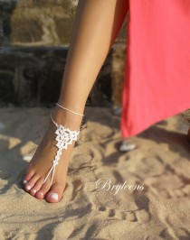 wedding photo - Wedding White Crochet Barefoot Sandals,Foot Jewelry,Beach wedding shoes,Bridal Sandals, White Womens Shoes