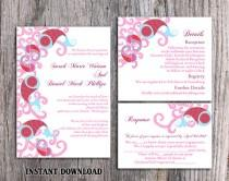 wedding photo - DIY Bollywood Wedding Invitation Template Set Editable Word File Instant Download Red Wedding Invitation Indian invitation Bollywood party