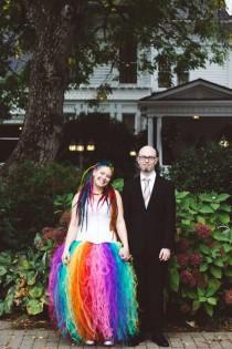 wedding photo - Rainbow Dreadlocks, A Rainbow Wedding Dress, Fire-Breathers, Hula Hooping & Bubbles!!