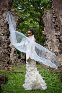 wedding photo - Cathedral Wedding Veil Swarovski Crystal Rhinestone with Blusher The Caitlin Veil