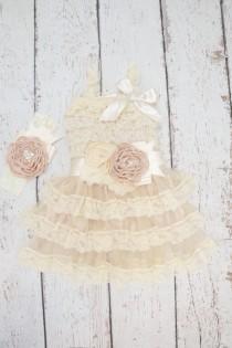 wedding photo - lace baby dress, rustic girl dress, flower girl dress, flower girl dresses, lace flower girl dress, country flower girl, champagne dress