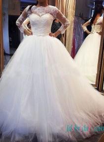 wedding photo - Modest 3/4 length sleeved princess ball gown wedding dress