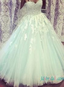wedding photo - Beautiful Ivory lace and light blue princess tulle wedding dress