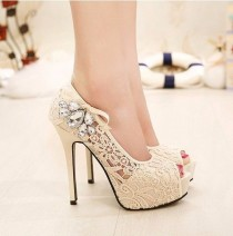 wedding photo - Beautiful Lace Peep Toe Stiletto High Heels