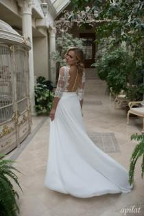 wedding photo - Bohemian Wedding Dress L19 with Lace, Simple Wedding Dress with Train, Bridal Gown with Open Back, Unique Bridal Dress, Fairy Wedding Dress