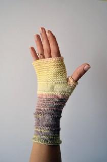 wedding photo - Knit fingerless gloves - Merino Wool Fingerless - Colorful Accessories - Winter Gloves - Gift For Her - Rainbow Fingerless Gloves nO 155