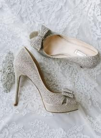 wedding photo - Studded Silver Bow Peep-Toe Wedding Shoes