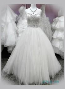 wedding photo - Stunning beaded embroidery sweetheart neck princess wedding dress