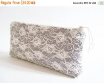 wedding photo - SALE 20% OFF Gray Bridesmaid Clutch, Date Night Clutch, Wedding Lace Purse, Elegant Evening Handbag, Women Lace Wallet, Wholesale Clutches
