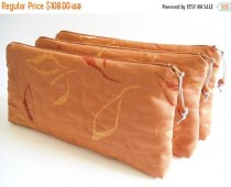 wedding photo - SALE 20% OFF Burnt Orange Clutches, Wedding Clutches, Set of 6 Bags, Bridesmaids Gift Bags, Flat Zip Wallet, Cosmetic Purses