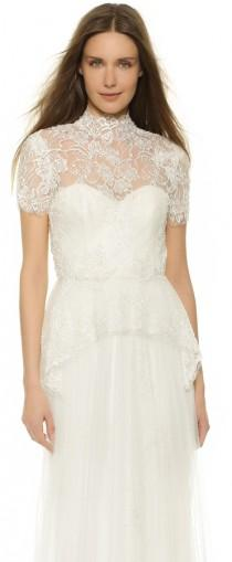 wedding photo - Marchesa Beaded Lace Peplum Blouse