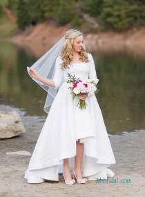 wedding photo - Simple high low hemline taffeta wedding dress with sleeves