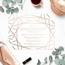 wedding photo -  Geometric Engagement Party Invitations-Stunning Winter Engagement Party-Sophisticated Faux Gold Rose-Modern Diamond