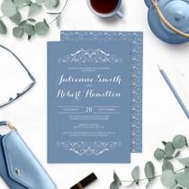 wedding photo -  Dusty Blue Rehearsal Dinner Invitations-Blue Winter Wedding Rehearsal Dinner-Vintage Swirl-Chic Retro-Victorian Swirl-Modern Elegant