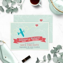 wedding photo - Destination Wedding Save the Date-Retro Airplane Save the date-Map Save the Date-Heart with couple initials-Travel Wedding