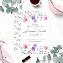wedding photo -  Floral Watercolor Bridal Shower Invitation-Wildflowers Bridal Shower Invitation-Rustic Bridal Shower-Customized Bridal Shower Invite