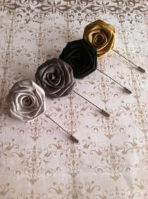 wedding photo - Mens Flower Lapel Set - Men's Rose Lapel Pins - Wedding Boutonnieres Corsages  - Silver Gray Gold Black Lapel Pins - Fathers Day Gift