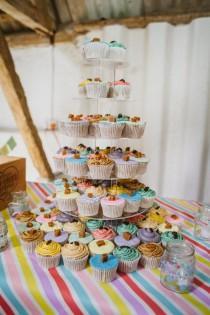wedding photo - Rainbow Pastel Candy Stripe Wedding