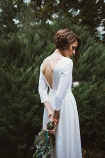 wedding photo - Wool wedding dress, Classic wedding dress, Winter wedding dress, Simple wedding dress, winter gown, white wedding dress