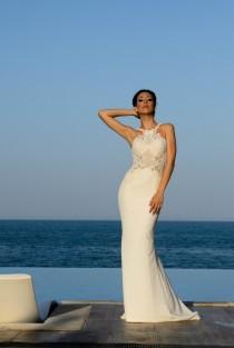 wedding photo - Simple wedding dress in ivory, Modest wedding dress in sheath, Casual wedding dress for the beach, Hippie wedding dress, Boho bridal dress