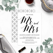 wedding photo -  Rustic Chic Mr. and Mrs. Engagement Party Invitations-Calligraphy Engagement Party Invites-Engagement Party Invitation Printable-DIY