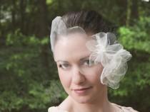 wedding photo - Cosette Scalloped Organza Petal Blusher Veil Vintage Romance Ethereal Wedding Bridal Bandeau Versatile Soft Shimmer Ivory White SIlver