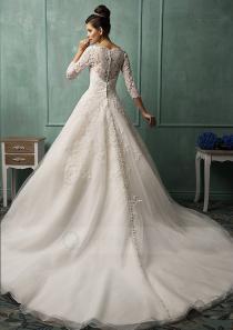 wedding photo - Princess 3/4 Sleeves Bateau Appliqued Cathedral Train Royal Wedding Dress