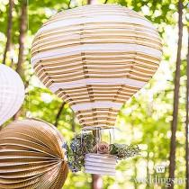 wedding photo - Set of 3 Hot Air Balloon Paper Lanterns In Gold And White