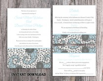 wedding photo - DIY Bollywood Wedding Invitation Template Set Editable Word File Instant Download Blue Wedding Invitation Indian invitation Bollywood party