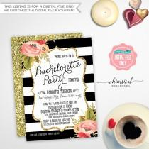 """wedding photo - Bachelorette Party Invitation """"Black and White Striped Florals"""" (Printable File Only) Vintage Roses Gold Faux-Glitter Watercolor Flowers"""