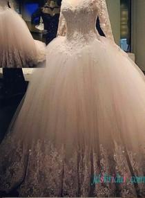 wedding photo - Gorgeous beaded lace tulle princess ball gown wedding dress