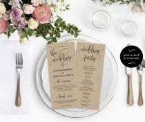 wedding photo -  Wedding Program Printable Template - Printable Wedding Program - Wedding printable - Editable Program 4X9.25 - Downloadable wedding