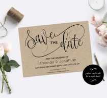 wedding photo - Save the Date Template - Save the Date Printable - Kraft save the date - Rustic save the date - Downloadable wedding