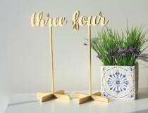 wedding photo - Table Numbers with base.Table Numbers.Gold Table Numbers. Wedding Table Decor.