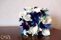 wedding photo - Rebecca's Bridal Bouquet Aqua Hydrangeas, Blue Violet Dendrobuim Orchids,White Calla Lilies