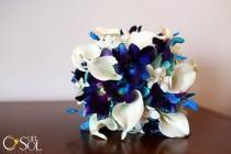 wedding photo - Rebecca's Bridal Bouquet Aqua Hydrangeas, Blue Violet Dendrobuim Orchids,White Calla Lilies