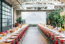 wedding photo - Colorful LA Wedding with a Giant Paper Cut Ceremony Backdrop