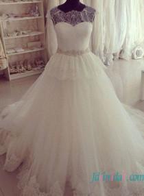 wedding photo - Illusion lace top peplum princess wedding dress