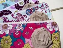 wedding photo - CREATE your 4 flower wedding clutches, 5 flower clutches, 6 flower clutches, gift pouch, wristlet, medium, 2 pockets, cotton, floral