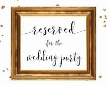 wedding photo - RESERVED WEDDING PARTY, wedding sign printable, wedding signage, bridal signs, calligraphy signs, printablestyles