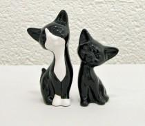 wedding photo - Mid Century Modern Tuxedo Cats Handmade Ceramic Retro Kitten Figurine Sculptures or Wedding Cake Toppers - Made to Order