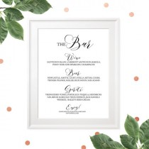 wedding photo -  Wedding Bar Menu Sign-Printable Calligraphy Bar Sign-The Bar Sign-Custom Bar Menu-Rustic Wedding Decor-DIY Wedding Reception Sign