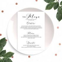 wedding photo -  Typography Wedding Menu-Printable Calligraphy Menu-Modern Wedding Menu-Custom Menu for Rustic Wedding-Wedding Reception Table Menu